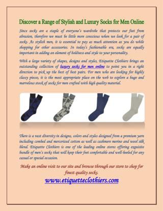 Discover a Range of Stylish and Luxury Socks for Men Online