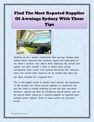 Find The Most Reputed Supplier Of Awnings Sydney With These Tips