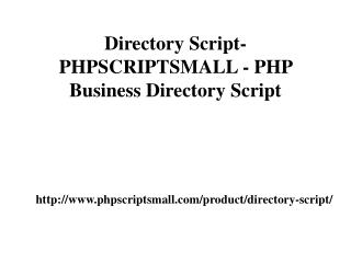 Directory Script- PHPSCRIPTSMALL - PHP Business Directory Script