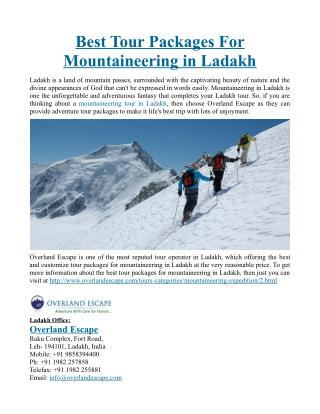 Best Tour Packages For Mountaineering in Ladakh