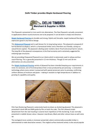 Delhi Timber provides Maple Hardwood Flooring