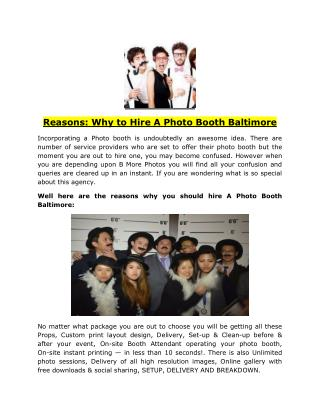 Reasons: Why to Hire A Photo Booth Baltimore