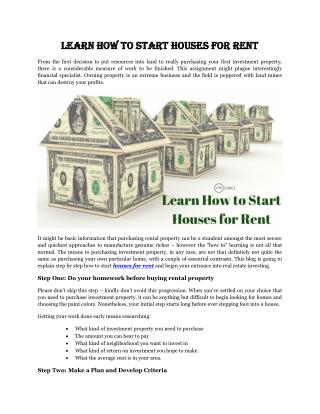 Learn How to Start Houses for Rent