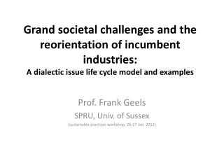 Grand societal challenges and the reorientation of incumbent industries:  A  dialectic issue life cycle model and exampl