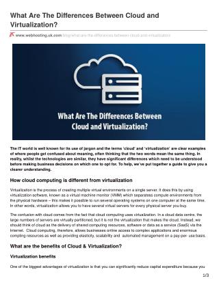 What Are The Differences Between Cloud and Virtualization?