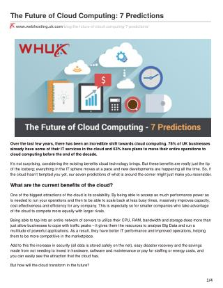 The Future of Cloud Computing: 7 Predictions