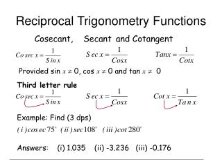 Reciprocal Trigonometry Functions