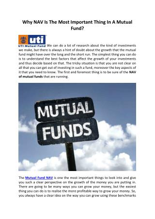 Why NAV is the most important thing in a mutual fund