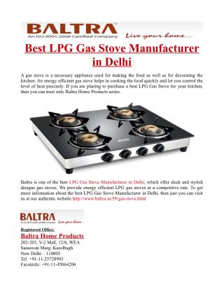 Best LPG Gas Stove Manufacturer in Delhi