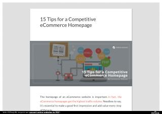 15 Tips for a Competitive eCommerce Homepage | iMediaDesigns