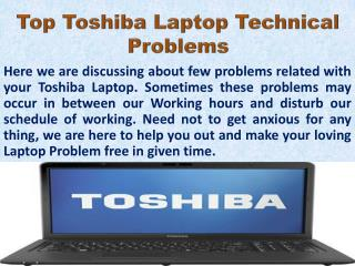 Top Toshiba Laptop problems With Its Solutions