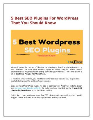 5 Best SEO Plugins For Wordpress That You Should Know