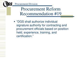 Procurement Reform Recommendation #19