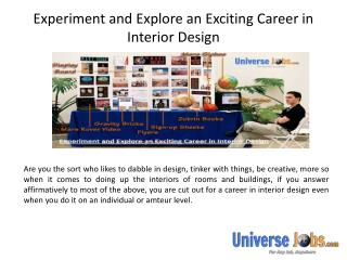 Experiment and Explore an Exciting Career in Interior Design