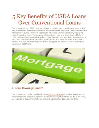 5 Key Benefits of USDA Loans Over Conventional Loans