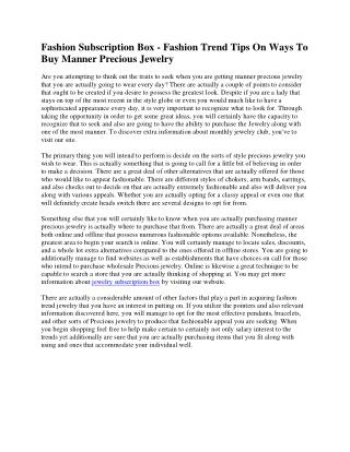 Monthly Jewelry Club - Fashion Tips On Effective Ways To Purchase Style Precious Jewelry