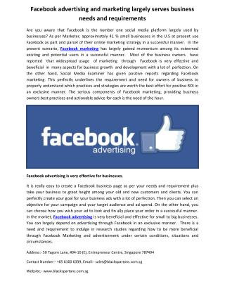 Facebook advertising and marketing largely serves business