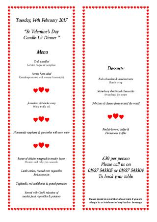 St Valentine's Day Candle-Lit Dinner