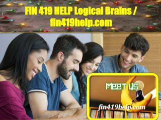 FIN 419 HELP Logical Brains / fin419help.com