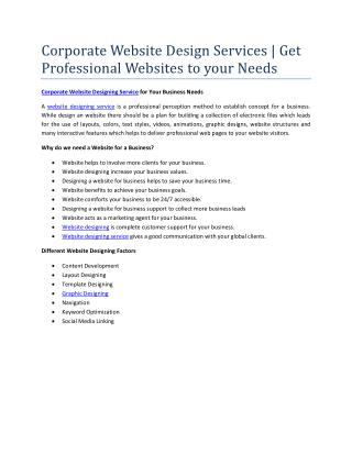 Corporate Website Design Services | Get Professional Websites to your Needs