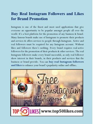 Buy Real Instagram Followers and Likes for Brand Promotion