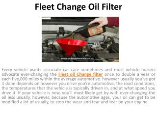 Fleet Change oil filter