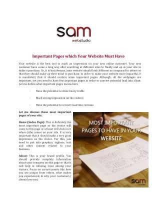 Important Pages which Your Website Must Have