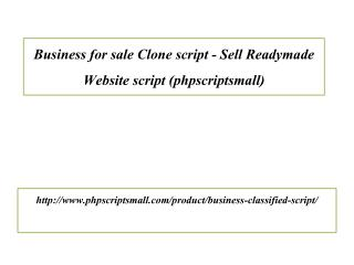 Business for sale Clone script - Sell Readymade Website script (phpscriptsmall)
