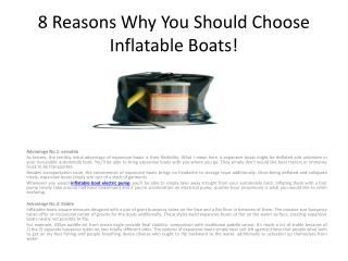8 Reasons Why You Should Choose Inflatable Boat