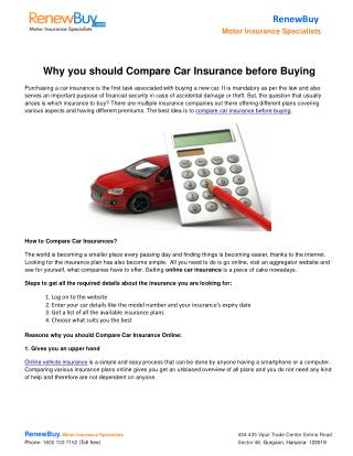 Why you should Compare Car Insurance before Buying