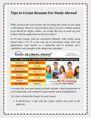 Tips to Create Resume For Study Abroad