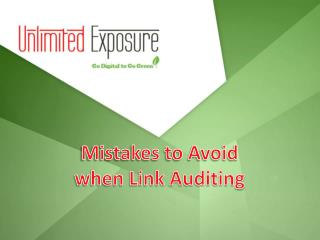 Mistakes to avoid when Link Auditing
