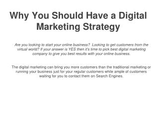 Why You Should Have a Digital Marketing Strategy? | Web Brain InfoTech