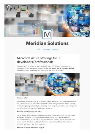 Microsoft Azure offerings for IT developers/professionals