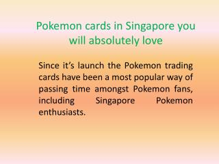 Pokemon cards in Singapore you will absolutely love
