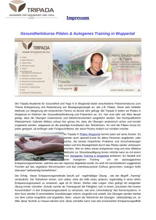 Gesundheitskurse Pilates & Autogenes Training in Wuppertal