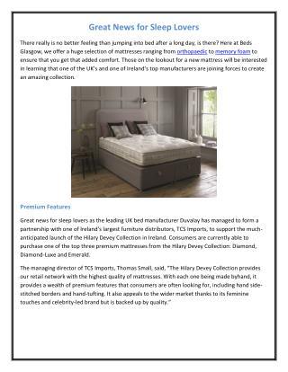 Great News for Sleep Lovers