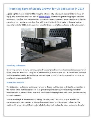 Promising Signs of Steady Growth for UK Bed Sector in 2017