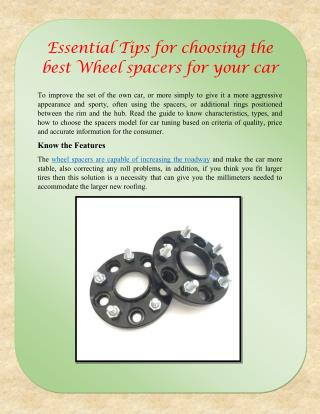 Essential Tips for choosing the best Wheel spacers for your car