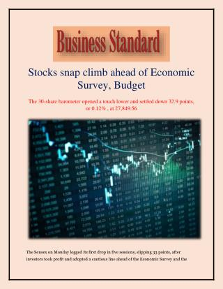 Stocks snap climb ahead of Economic Survey, Budget