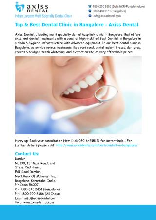 Dental Treatment in Bangalore