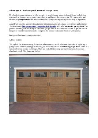 Some Pros And Cons Of Automatic Garage Doors Calgary