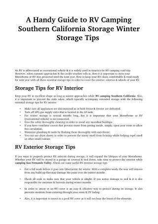 A Handy Guide to RV Camping Southern California Storage Winter Storage Tips