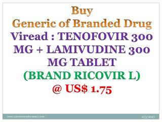 Buy Tenofovir 300 Mg   Lamivudine 300 Mg Tablet @ Us$ 1.75