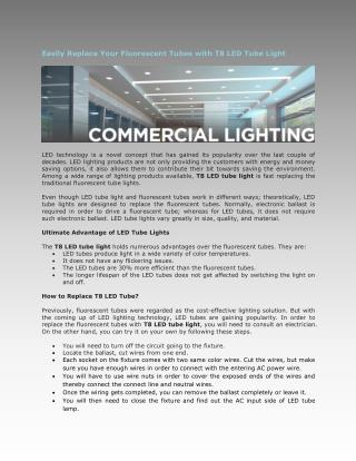 Easily Replace Your Fluorescent Tubes with T8 LED Tube Light
