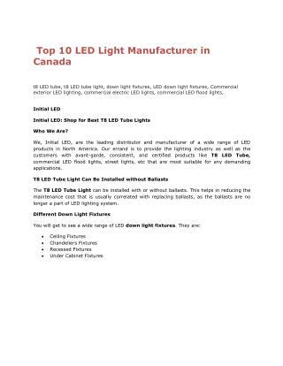 Top 10LEDLight Manufacturer in Canada
