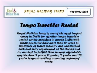 Tempo Traveller Rent Delhi, 9 Seater Tempo Traveller on hire