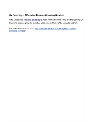 CV Sourcing – Affordable Resume Sourcing Services