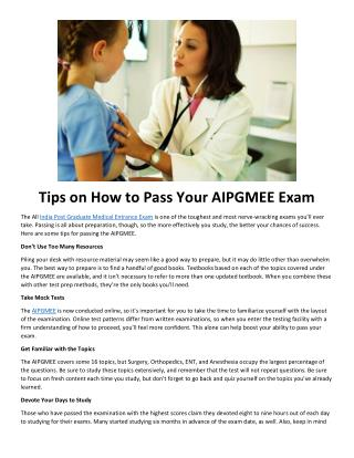 Tips on How to Pass Your AIPGMEE Exam