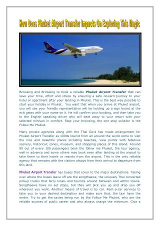 How Does Phuket Airport Transfer Impacts On Exploring This Magic Island
